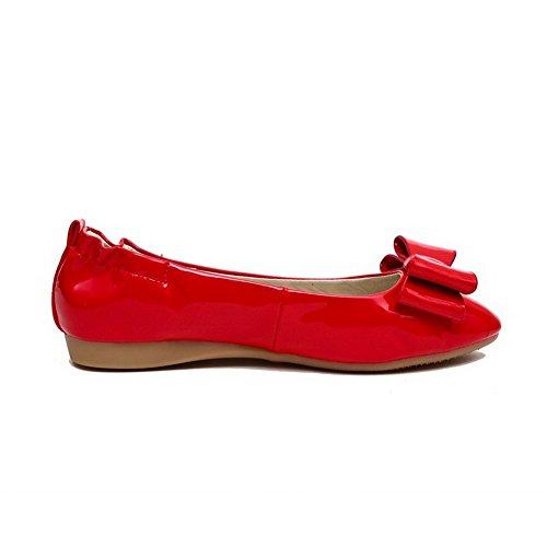 VogueZone009 Femme Verni Rond à Talon Bas Tire Couleur Unie Chaussures Légeres Rouge