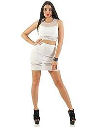11149 Fashion4Young Damen Kleid 2-teilig Stretch-Rock und Top Stretchkleid Minkleid