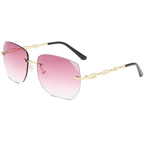 Schnittkante rahmenlose Sonnenbrille weiblichen UV-Schutz Mode großen Rahmen Brille Diamant rosa