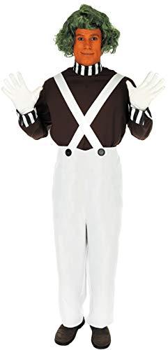 Fancy Me Herren 4 Stück Erwachsene Oompa Loompa büchertag Woche Halloween Kostüm Kleid Outfit Perücke! S-XL - Weiß, M
