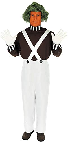 Oompa Halloween Loompa Kostüm - Fancy Me Herren 4 Stück Erwachsene Oompa Loompa büchertag Woche Halloween Kostüm Kleid Outfit Perücke! S-XL - Weiß, M