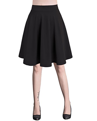 Bridesmay Damen Mini Rock Basic Solid vielseitige dehnbaren informell Minikleid Retro Sexy Rock Faltenrock Midi-Black M