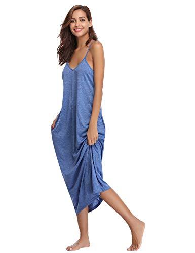 Aiboria Damen Nachthemd Einfarbige Sommer Negligee Lose Lang Baumwolle Langen Rock Schlanke Nachtwäsche Sleepwear Frauen V-Ausschnitt (Nachthemden, Damen Lange ärmel)