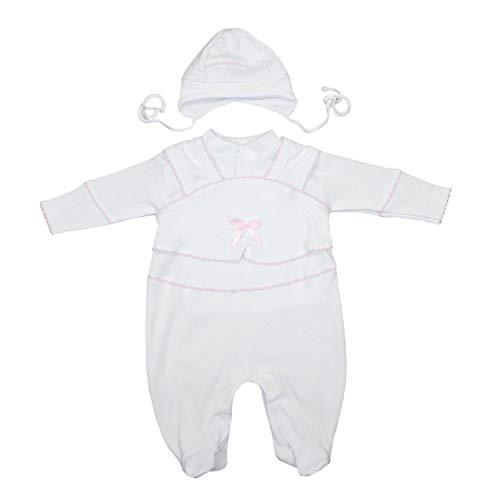 TupTam Unisex Baby Taufbekleidung 3-tlg. Set , Farbe: Weiß / Mädchen, Größe: 56