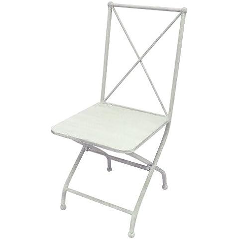 Better & Best 1401932 - Silla de jardín plegable, de hierro, con aspa en el respaldo, color blanco