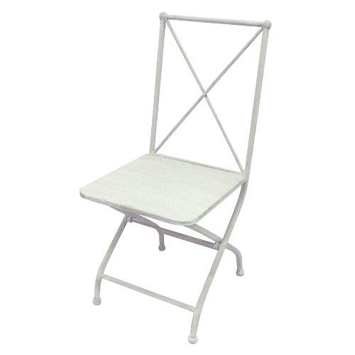 Better & Best & Chaise de jardin pliable en fer croix dans le dossier. 41.5x51x95 cm blanc