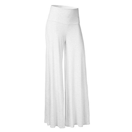 Culater® Femmes Taille Grande Leggings taille haute Bloomers Yoga Dance Pantalon complet Blanc
