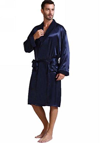 Preisvergleich Produktbild Herren Seide Bademantel Schlafanzug Blau XXX-Large