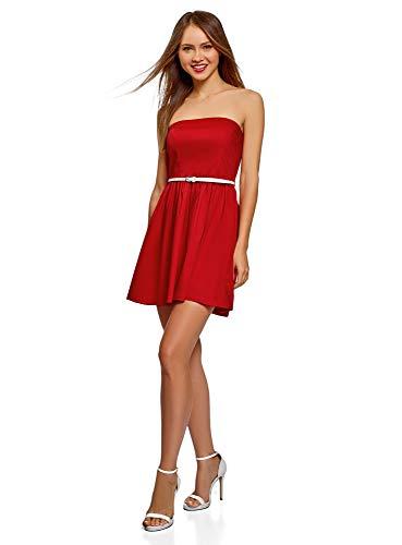 oodji Ultra Damen Bandeau-Kleid aus Baumwolle, Rot, DE 34 / EU 36 / XS -