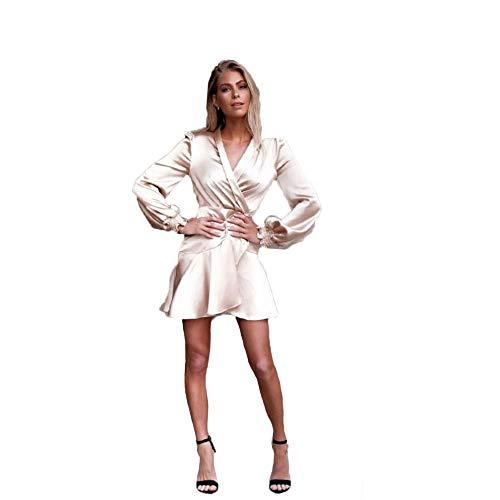 RATWIFE Frauen Satin Strap Temperament DüNnes Kleid Urlaub Stil Damen Casual Tageskleid Satin Kleid-kleid