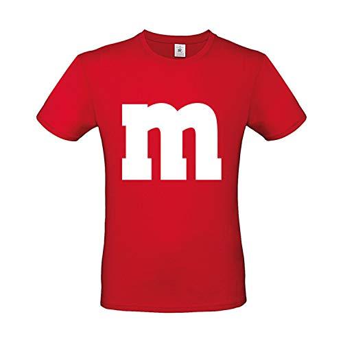 -Shirt M&M Karneval Gruppen Kostüm Fasching Verkleidung Party Darts Unisex Kinder Rot M ()