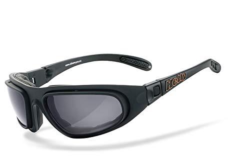 Helly® - No.1 Bikereyes® | beschlagfrei, winddicht, HLT® Kunststoff-Sicherheitsglas nach DIN EN 166 | Bikerbrille, Motorradbrille, Multifunktionsbrille | Brillengestell: schwarz matt, Brille: eagle