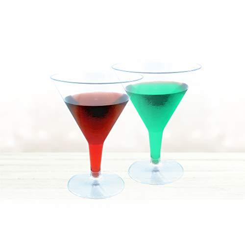 Decorline- Eleganter transparenter Einweg Martini gläser aus Plastik, 180ml, 12 Stück Elegante Martini-gläser