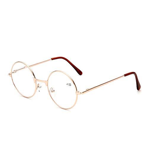 XWGlory Unisex Mode Runde Lesebrille Vintage Runde Brillen Brillen Reader Eyewear Mit Metallrahmen + 1.0- +4.0