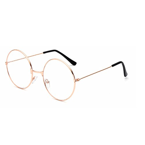LUOEM Vintage Runde Brille Klare Linse Brille ohne Stärke Unisex (Gold)