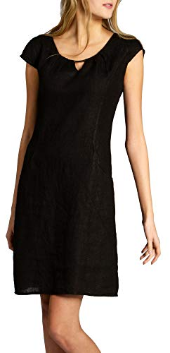 Caspar SKL020 knielanges Damen Sommer Leinenkleid mit dezenter Metallspange bis Größe 50, Farbe:schwarz, Größe:M - DE38 UK10 IT42 ES40 US8