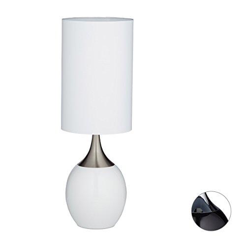 Relaxdays 10020528_46 Reeva Lampe de chevet Forme Ovale Métal/Coton/Polyester 23 x 23 x 67 cm