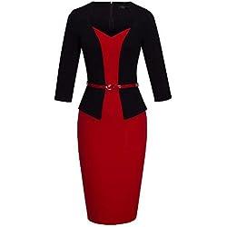 Vestido de tarde B328 Homeyee, de estilo retro, con cinturón rojo, mezcla de liso y estampado Rojo rosso 36 = Talla Small