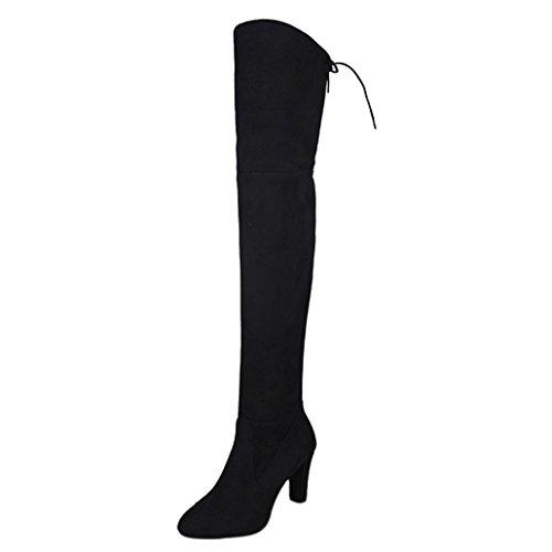SOMESUN Stivali Donna Alto Tacchi, Faux delle Donne Slim Stivali Alti Stirata Sopra Gli Stivali al Ginocchio Scarpe dei Tacchi Alti Black