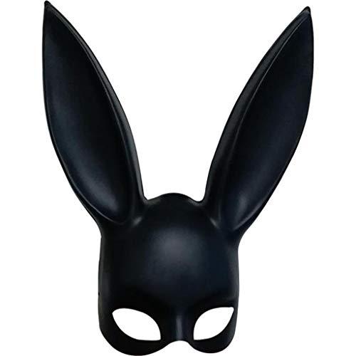 Girl Kostüm Hulk - QWEASZER Halloween Cosplay Party Ostern Nachtclub Bar Maske Bunny Girl Maske Prom Half Face Kaninchen Ohr Maske Leistung,Black-OneSize