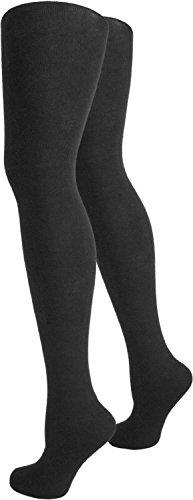 normani 2 x Warme und gefütterte Damen Thermo Strumpfhosen mit Innenfleece Farbe Schwarz Größe 36-38