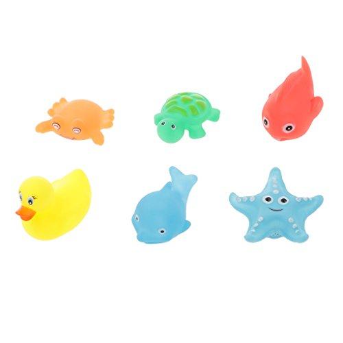 Sharplace 6pcs / Set Gummi Quietschende Tiere Badespielzeug, Baby Badewanne Spielzeug, Wasserspielzeug für Kinder Geschenk - Mehrfarbig