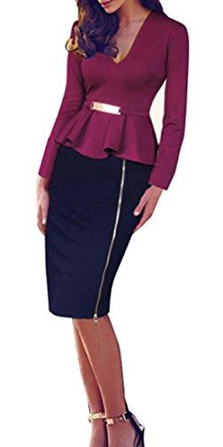 HOMEYEE - Vestito - V dal lato del collo Zipper Peplum matita - Donna B241 Carmine