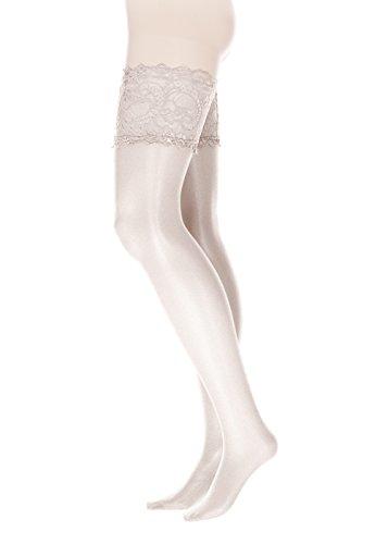 GLAMORY Damen Halterlose Strümpfe Comfort 20 DEN, Weiß (Weiß), Large (Herstellergröße: L-(44-46))