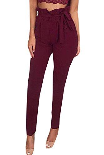 Damen Elegant High Waist Chiffon Stretch Pants Skinny Hosen Casual  Streetwear einfarbig Lange Hose mit Tunnelzug, Rotwein, Gr. 36 da06059dc7