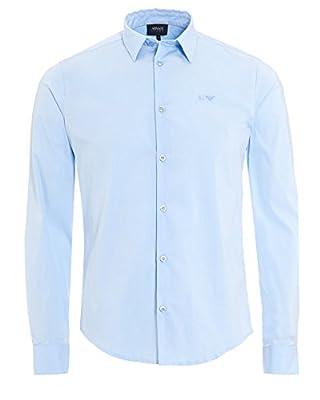 Armani Jeans Mens Plain Sky Blue Cotton Poplin Stretch Shirt