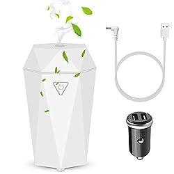 Rovtop Auto Duft Diffuser, Mini Ultraschall Luftbefeuchter Aromatherapie ätherisches Öl Diffusor für Auto Büro Schlafzimmer Badezimmer weiß (Enthält kein Parfüm)