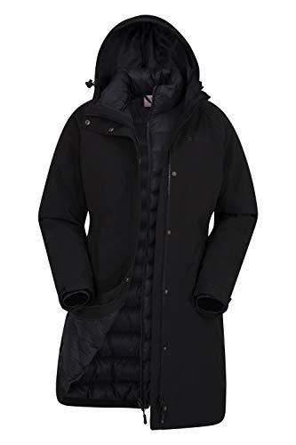 Mountain warehouse giacca invernale alaskan womens 3 in 1 - impermeabile 10.000 mm, cappotto imbottito da donna, giacca interna rimovibile - per l'escursionismo nero jet 52