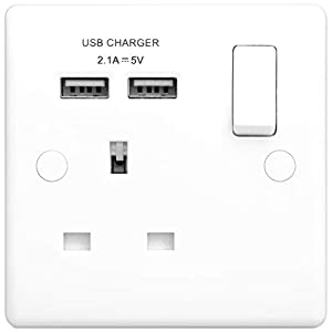 BG Electrical Single Switched 13 A Fast Charging Power Socket with Two USB Charging Ports, 2.1 A, 5 V, 10.5 W, Round Edge, White