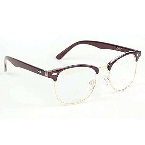 Cyxus filter blaues licht halb randlos brille [Transparente Linse] anti Überanstrengung der augen computerbrille (Rotwein Rahmen)