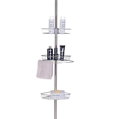 Estantería de ducha telescópica EUGAD con tres cestas de altura regulable. Capacidad máxima: Altura de aprox. 250 cm. De acero.
