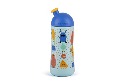 Suavinex - Botella Infantil BOOO Sport 360ml +18 Meses. Boquilla Blandita. Color Azul
