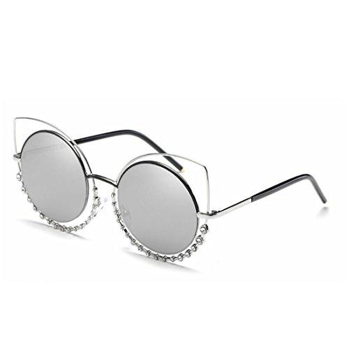 Honneury Metallic-Sonnenbrille für Damen mit Diamond Cat's Eyes-Sonnenbrille (Farbe : Silver Frame/Silver Lens)