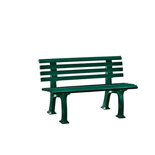 Parkbank aus Kunststoff – mit 9 Leisten – Breite 1200 mm, moosgrün – Sitzbank Gartenbank Ruhebank Bank für Außenbereich UV- und witterungsbeständig PVC Bank