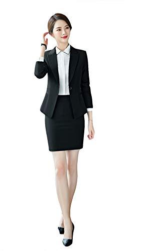 SK Studio Mujeres 2 piezas Ajuste Regular Traje de Negocios Formal Blazer Y Pantalones/Falda Conjunto