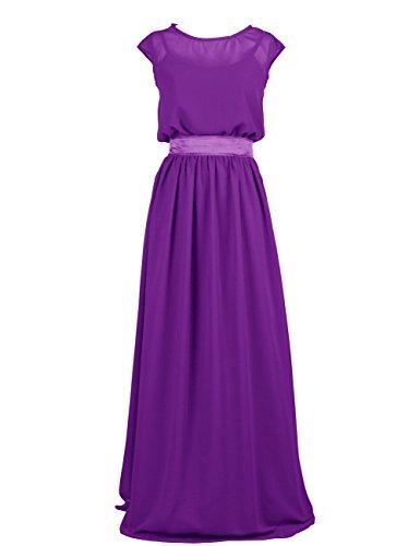 Dressystar Damen Chiffon Abendkleider Ballkleider Brautjungfernkleider mit Schleife Purpur