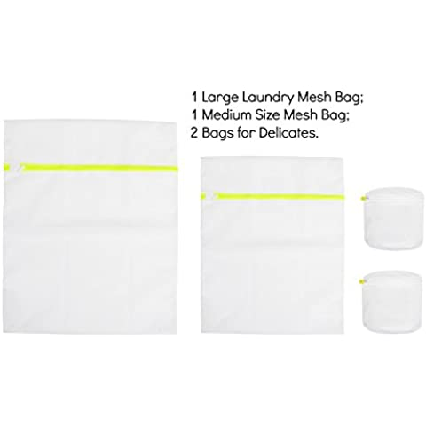 Net Laundry Mesh Bags Different Sizes Color Green, 4 Pieces Travel
