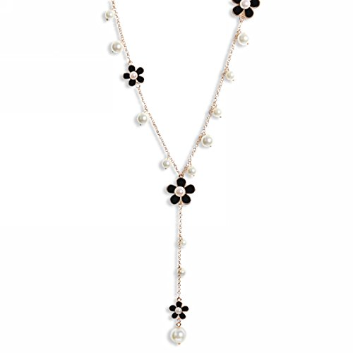 Catenina da donna in lega con ciondolo, cristallo di boemia multistrato, lunghezza 66 cm, colore: nero