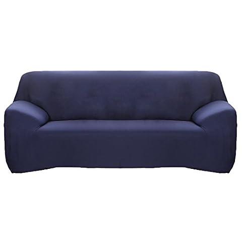 sourcingmap® Housse de canapé 3 places élastique en Polyester lavable bleu marine protecteur 190-240cm