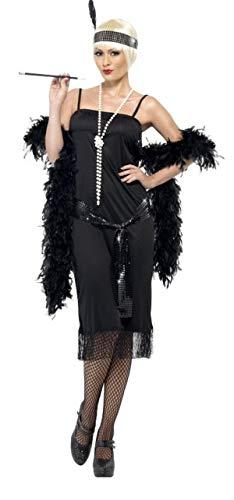 Fancy Me Damen Sexy feurig schwarz Flapper 1920s Jahre Kostüm Kleid Outfit 8-22 Übergröße - Schwarz, UK 20-22 (Schwarzes Flapper Übergröße Kostüm)