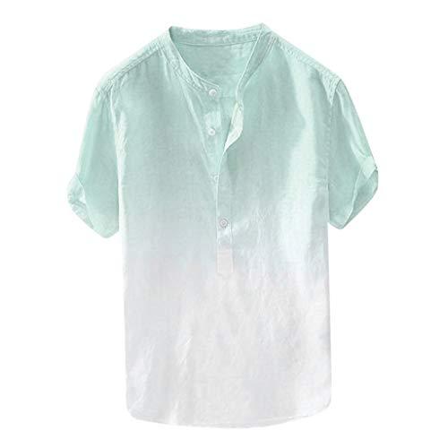 Xmiral Camicie Maniche Lunghe e Taglie Sport Estate Colletto Fresco e Sottile Traspirante Tinta Tinta Unita Camicia da Uomo (4XL,Blu)