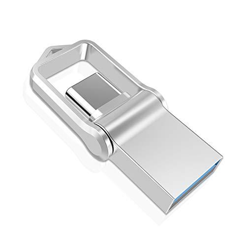 USB C Stick 128GB, TOPESEL USB-Stick Typ C Speicherstick OTG USB 3.0 Dual Flash Drive 2-in-1 Wasserdicht Mini Memory Stick für Tablet, PC, MacBook, Android Handy(Samsung, Huawei, Honor, Xiaomi) Silber