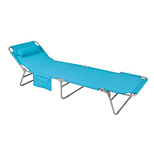 SoBuy OGS35-B Gartenliege Sonnenliege Relaxliege mit Seitentasche Liegestuhl klappbar Strandliege...