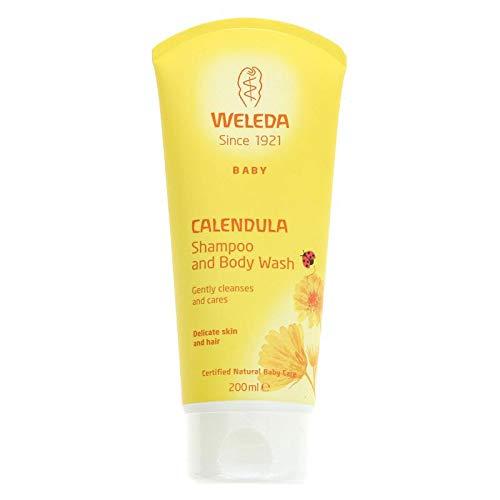 WELEDA Baby Calendula Waschlotion & Shampoo, Naturkosmetik schonendes Duschgel für Babyhaut- und Haar, reinigt und pflegt die Kopfhaut von Kindern und Babys (1 x 200ml) -