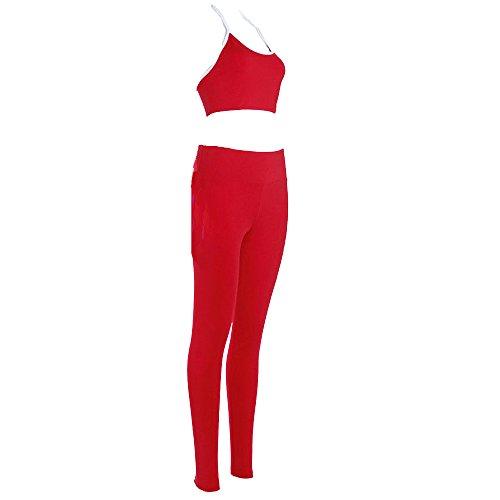 Mallorma® Frauen Yoga Set Lauf BH & Hosen Fitness Workout Fitness Strumpfhosen Sportbekleidung Reine Farbe Rückenfreie Yogahosen Sport Weste Anzug (S, Rot)