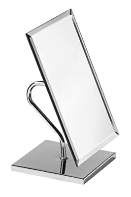 Premier Housewares Large Rectangle Free Standing Adjustable Mirror on Chrome Base